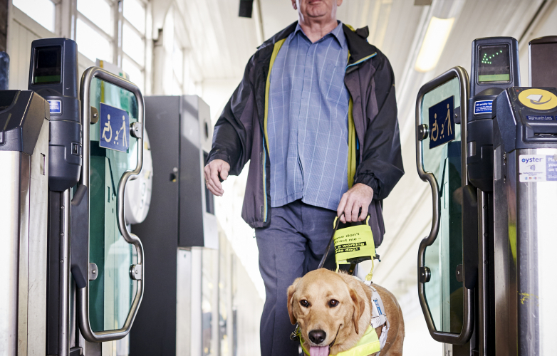 A visually impaired man with his guide dog going through ticket barriers