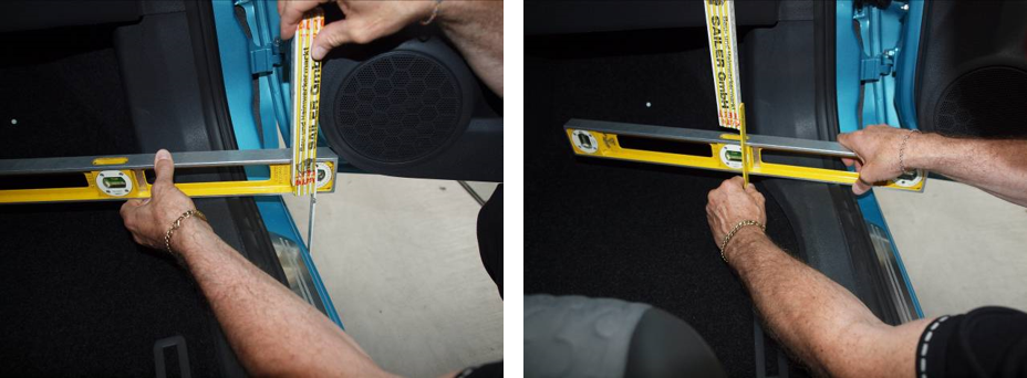Measuring the door sill height on a car