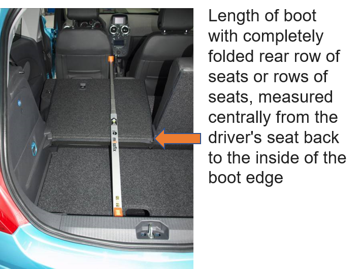 Measuring the length of a car boot with seats folded down
