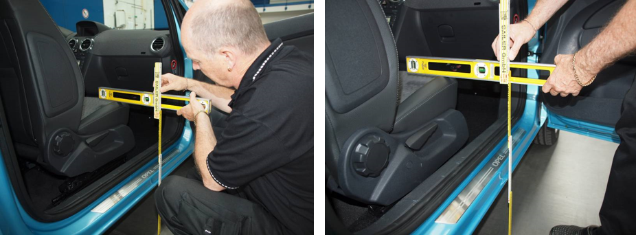 Measuring seat height on entry into a car