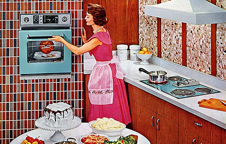 Drawing of a woman in a 1950's American kitchen using the controls of an oven