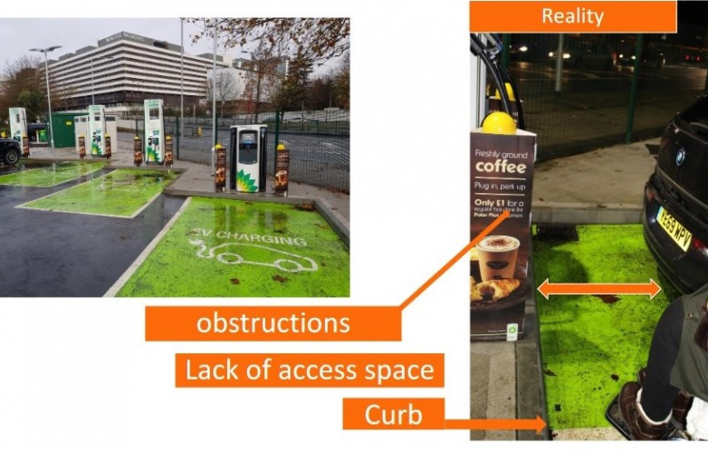 Image of page from Motability report showing charging hub and lack of access space for wheelchair user