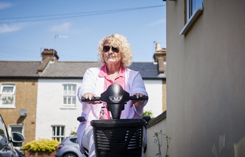 Bev on her mobility scooter