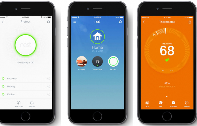Picture of three home heating control apps on three smart phones