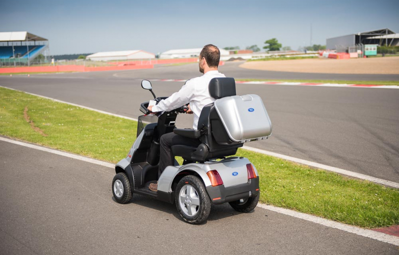 Mobility scooter user at Mobility Scooter at Silverstone