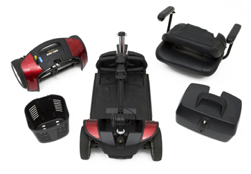 Mobility scooter dismantled showing the different parts