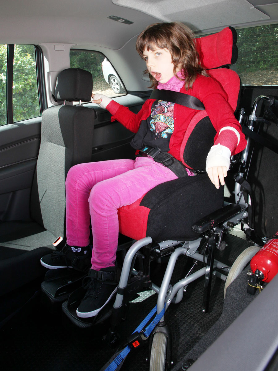 Girl in wheelchair in WAV