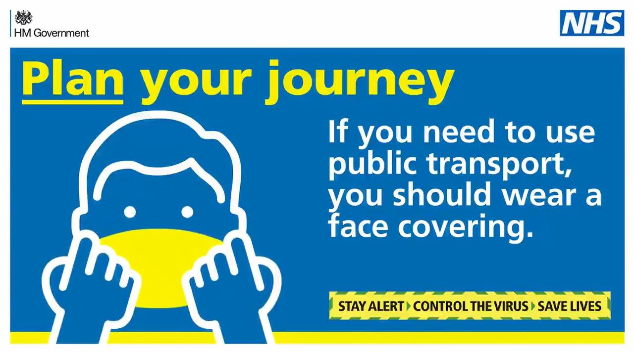 A picture of a government poster about wearing masks on public transport